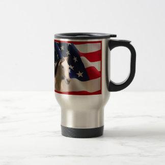 Pferdereise-Tassen-amerikanische Flagge Edelstahl Thermotasse