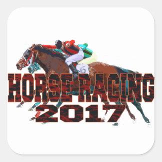 Pferderennen 2017 quadratischer aufkleber