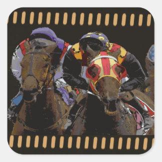 Pferderennen auf Film-Streifen Quadratischer Aufkleber