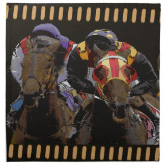 Pferderennen auf Film-Streifen Serviette