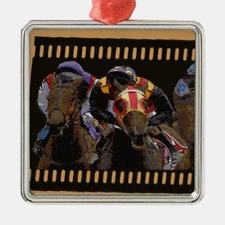 Pferderennen auf Film-Streifen Silbernes Ornament