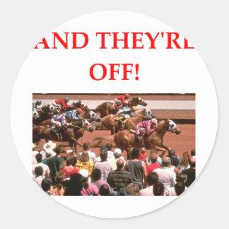 Pferderennen Runder Aufkleber