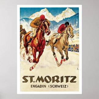 Pferderennen-Vintage Reise St Moritz die Schweiz Poster