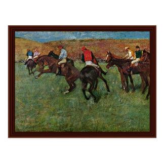 Pferderennen vor dem Anfang durch Edgar Degas Postkarte
