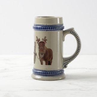 Pferderotwild - Weihnachtspferd - lustiges Pferd Bierglas