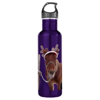 Pferderotwild - Weihnachtspferd - lustiges Pferd Edelstahlflasche