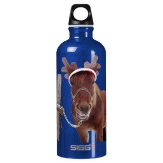 Pferderotwild - Weihnachtspferd - lustiges Pferd Wasserflasche