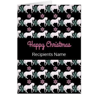 Pferdeschneeflocke-glückliches Weihnachtskarte Karte