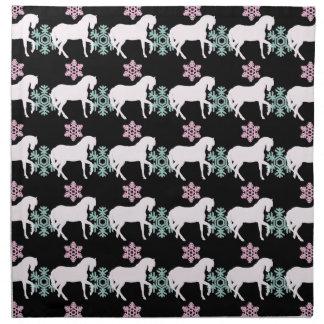 Pferdeschneeflocke-Muster-Stoff-Servietten-Set Stoffserviette