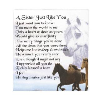 Pferdeschwester-Gedicht Notizblock