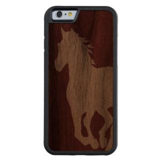PferdeSilhouette-hölzerner Kasten für iPhone Bumper iPhone 6 Hülle Walnuss