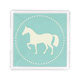 PferdeSilhouette-Quadrat-Serviertablett Acryl Tablett