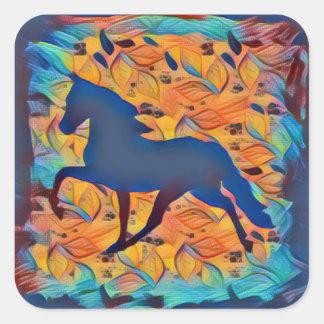 PferdeSilhouette Quadratischer Aufkleber