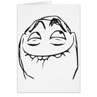 PFFTCH lachendes Raserei-Gesichts-Comic Meme Grußkarten