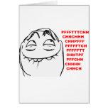 PFFTCH lachendes Raserei-Gesichts-Comic Meme Grußkarte