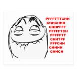 PFFTCH lachendes Raserei-Gesichts-Comic Meme Postkarten