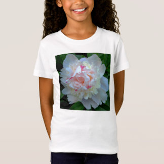 Pfingstrosen-hübsches Weiß T-Shirt