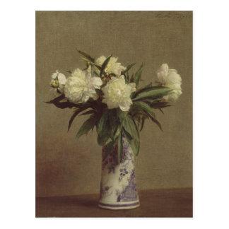 Pfingstrosen in einem blauen und weißen Vase Postkarte