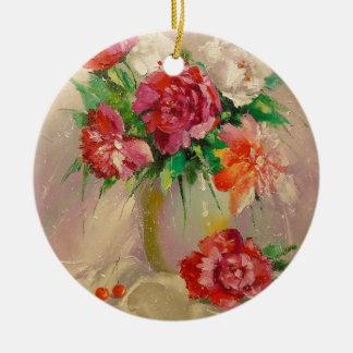 Pfingstrosen Keramik Ornament