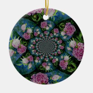 Pfingstrosen-Mandala Keramik Ornament