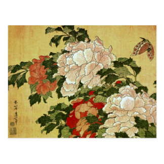 Pfingstrosen u. Schmetterlinge Hokusai Postkarte