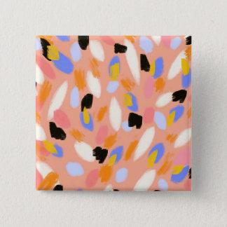 Pfirsich abstrakt quadratischer button 5,1 cm