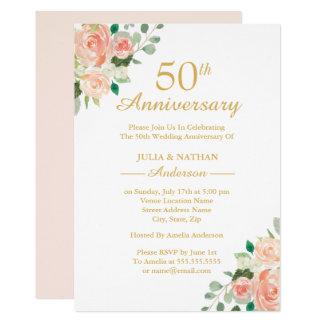 Pfirsich-Aquarell-Blumen50. Hochzeitstag Karte