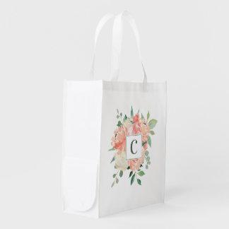 Pfirsich-Aquarell-Blumenstrauß mit Monogramm Wiederverwendbare Einkaufstasche