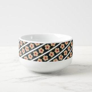 Pfirsich-Blume stripes Suppen-Tasse Große Suppentasse