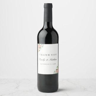 Pfirsich-BlumenAquarell-Hochzeits-Wein-Aufkleber Weinetikett
