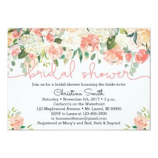 Pfirsich-BlumenBrautparty-Einladungen 12,7 X 17,8 Cm Einladungskarte