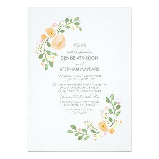 Pfirsich-Blumenhochzeits-Einladung 12,7 X 17,8 Cm Einladungskarte