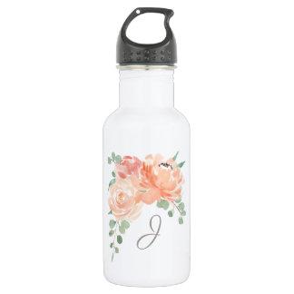 Pfirsich-Blumenstrauß mit irgendeinem Monogramm Edelstahlflasche