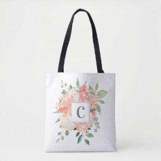 Pfirsich-Blumenstrauß mit irgendeinem Monogramm Tasche