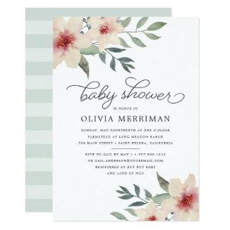 Pfirsich-Blüten-Babyparty-Einladung Karte