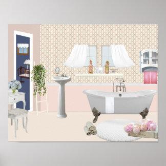 Pfirsich-dekoratives Badezimmer-Plakat mit Poster