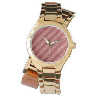 Pfirsich-Echo und schwarzer Streifen Armbanduhr