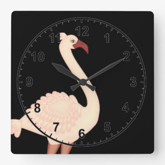 Pfirsich-Flamingo Quadratische Wanduhr