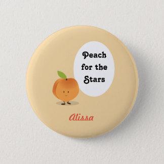 Pfirsich für den Knopf der Stern-  Runder Button 5,7 Cm
