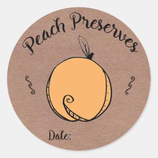 Pfirsich konserviert Aufkleber mit Raum für Datum