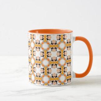 Pfirsich kreist orange bernsteinfarbiges modernes tasse