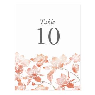 Pfirsich-Magnolien-Blumen-Tischnummer-Postkarte