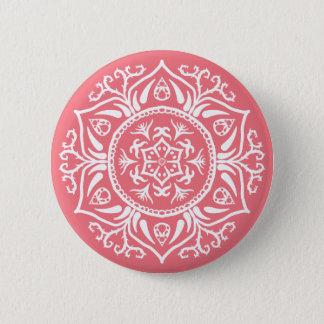 Pfirsich-Mandala Runder Button 5,1 Cm