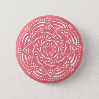 Pfirsich-Mandala Runder Button 5,7 Cm
