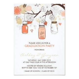 Pfirsich-Maurer-Glas-Abschluss-Party Einladung