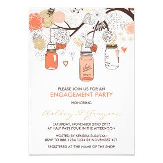 Pfirsich-Maurer-Glas-Verlobungs-Party Einladung