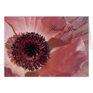 Pfirsich-Mohnblume danken Ihnen Notecard Karte