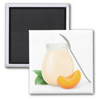 Pfirsich- oder Aprikosenjoghurt Quadratischer Magnet
