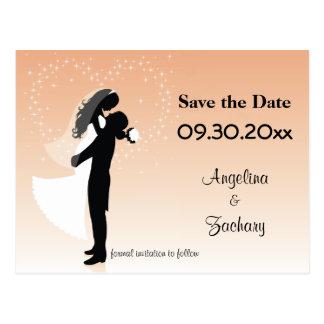 Pfirsich Ombre Save the Date, das Postkarte