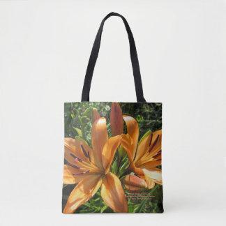 Pfirsich-orange asiatische Lilien Tasche
